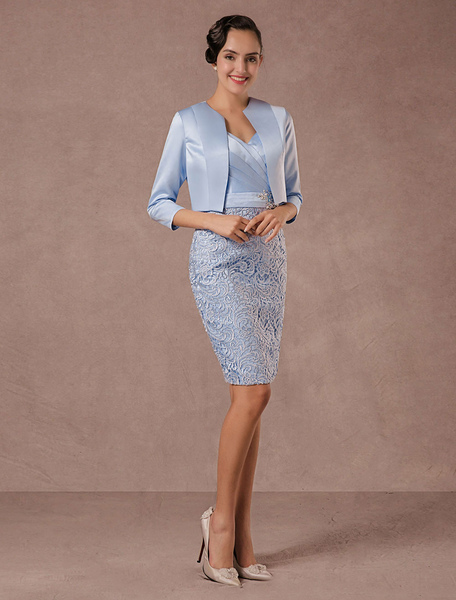 Party Dress Suits Lace Illusion Cocktail Dress Wedding Party Suits With Long Sleeves Jacket фото