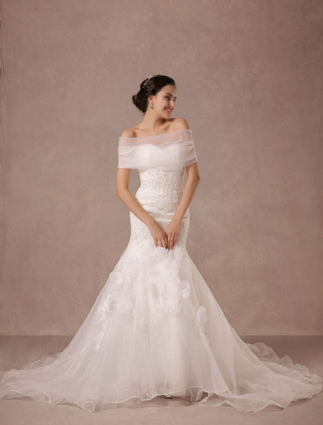 Mermaid Wedding Dress Lace Beading Chaple Train Bridal Gown With Detachable Organza Wrap And Flower фото