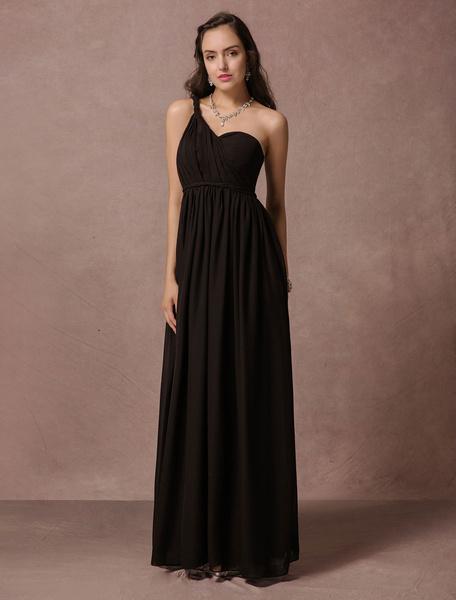 Black Bridesmaid Dress Maxi Chiffon Evening Dress A Line One Shoulder Backless Floor Length Party Dr
