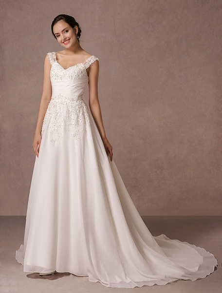 Chiffon Wedding Dress Lace Applique Beading A-line Chaple Train Bridal Gown фото