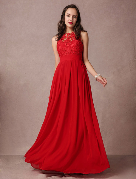 Red Prom Dress Lace Maxi Evening Dress Backless A-line Floor-length Chiffon Party Dress