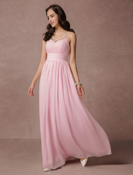 Pink Prom Dress Chiffon Backless Maxi Evening Dress Lace Beading Illusion A-line Floor-length Party