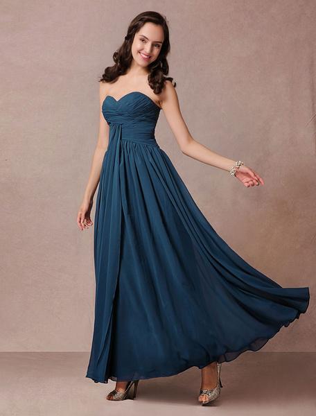 Blue Bridesmaid Dress Maxi Chiffon Strapless Prom Dress Pleated Ankle Length Homecoming Dress Milanoo