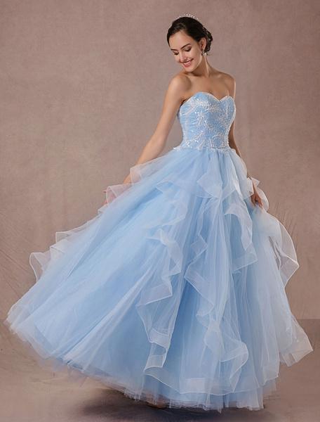 Robe de mariée Tulle Ball dentelle Applique sans bretelles perles princesse bleue Backless parole lo