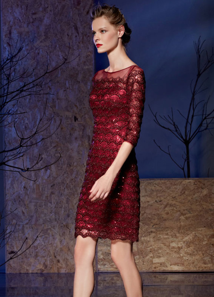 Lace Cocktail Dress Sequin Off-the-shoulder Half-sleeves Mother Of The Bride Dress фото