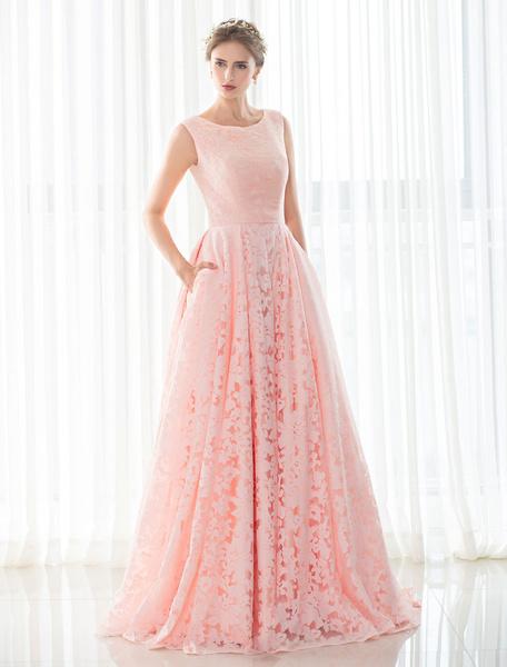 Rosa Vestido de Novia de Encaje de Una línea de Tribunal Tren sin Mangas de Encaje hasta Vestido de Novia Con Bolsillos para las Manos