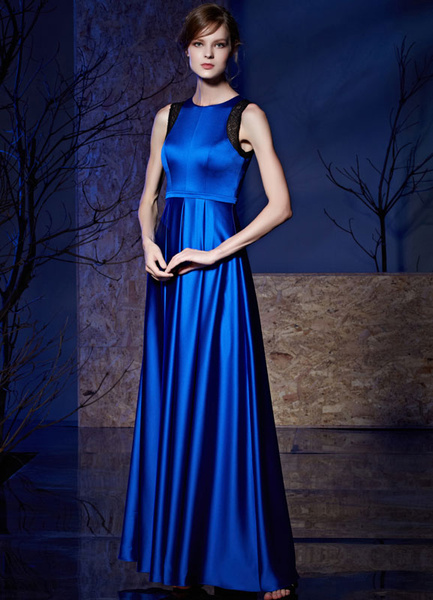 Satin Evening Dress Shoulder Lace Applique Sleeveless A-line Floor-length Mother Of The Bride Dress