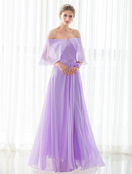 De Dama de honor lila Bateau gasa Maxi vestido de encaje satén sin respaldo fiesta vestido de novia Milanoo