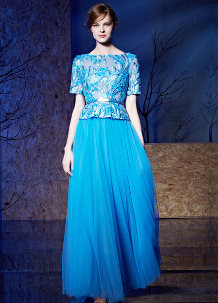 Embroideries Evening Dress Half-sleeves Lace Beading Tulle A-line Floor-length Mother Of The Bride D Milanoo