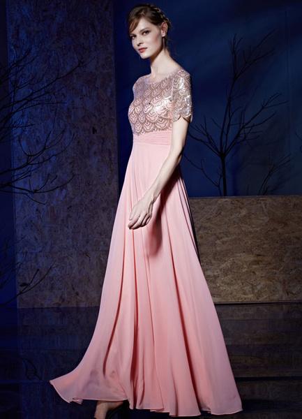 Sequin Evening Dress Chiffon High Waist A-line Floor-length Short Sleeves Party Dress