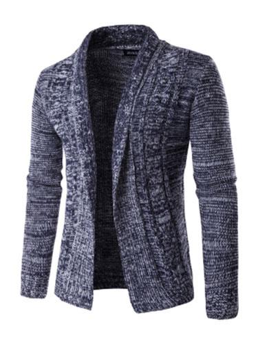 Men's Cotton Jacket Dark Navy Turndown Collar Long Sleeve Open Front Casual Jacket фото