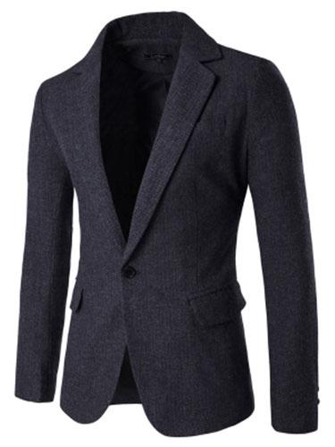 Black Blazer Jacket Men's Turndown Collar Long Sleeve Slim Fit Casual Blazer For Men фото
