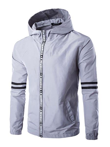 Grey Windbreaker Jacket Men's Hooded Long Sleeve Shaping Casual Track Jacket Milanoo