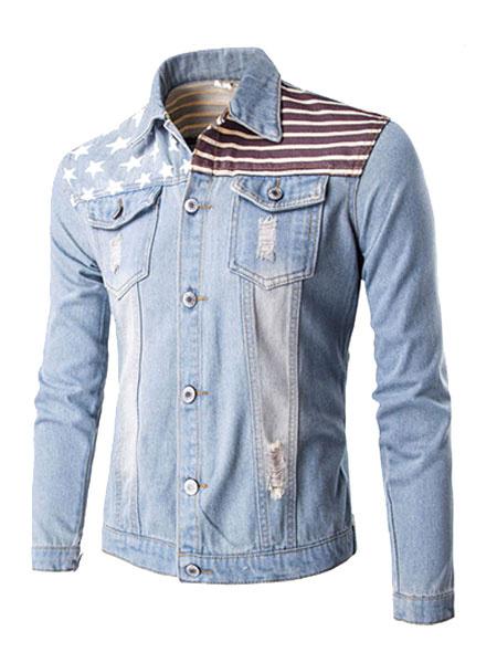 Men's Denim Jacket Light Blue Stand Collar Long Sleeve Printed Casual Jacket фото