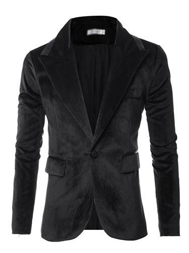 Black Casual Blazer Men's Long Sleeve Turndown Collar Slim Fit Cotton Blazer фото