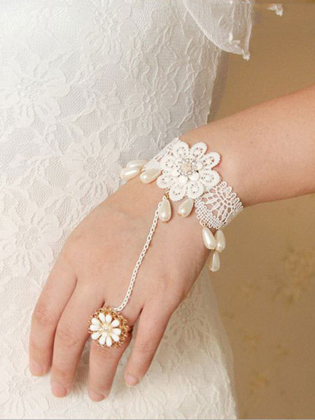 Sweet Lolita Bracelet White Lace Beads Lolita Accessories With Flower Ring фото