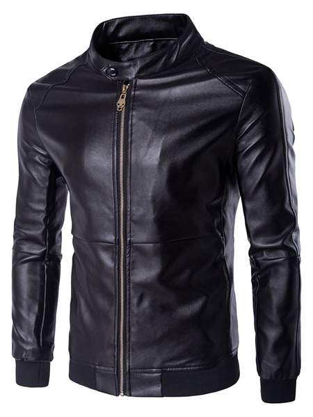 Men's Black Jacket PU Leather Casual Fit Zip Up Jacket фото