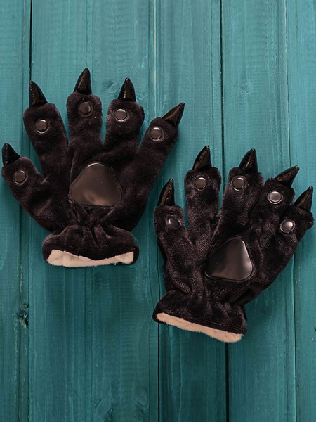 Kigurumi Pajama Black Claw Bear Onesie Gloves Flannel Kigurumi Cosplay Costume For Women фото
