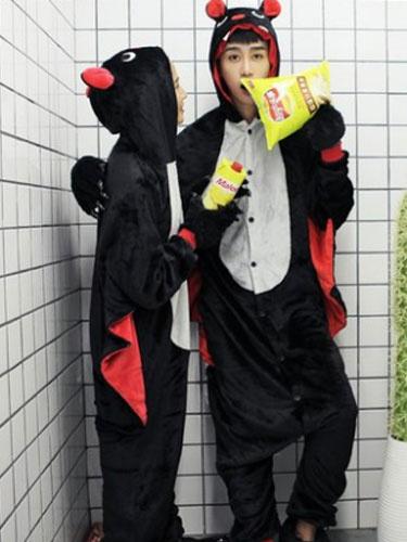 Kigurumi Pajama Monkey Onesie Flannel Black Animal Couple Costume фото