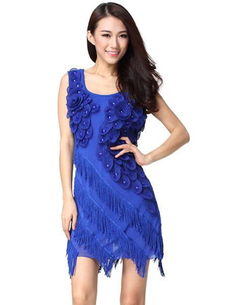 Dance Dress Costume Women's Blue Flowers Bodycon Ballroom Dance Dress With Tassels фото