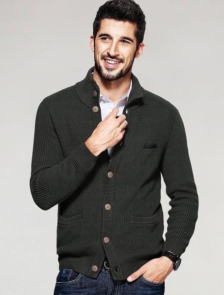 Men's Green Sweater Cotton Long Sleeve Button Open Front High Collar Cardigan Knitwear Milanoo