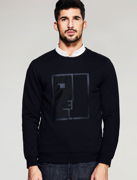 Black Pullover Sweatshirt Crewneck Long Sleeve Shaping Casual Cotton Top фото