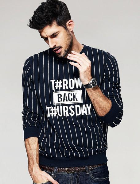 Black Cotton Sweatshirt Vertical Stripe Men's Letters Printed Long Sleeve T Shirt Milanoo
