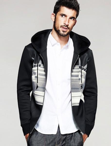 Hoodie noir hommes imprimé à capuche veste à capuchon avec cordon de serrage