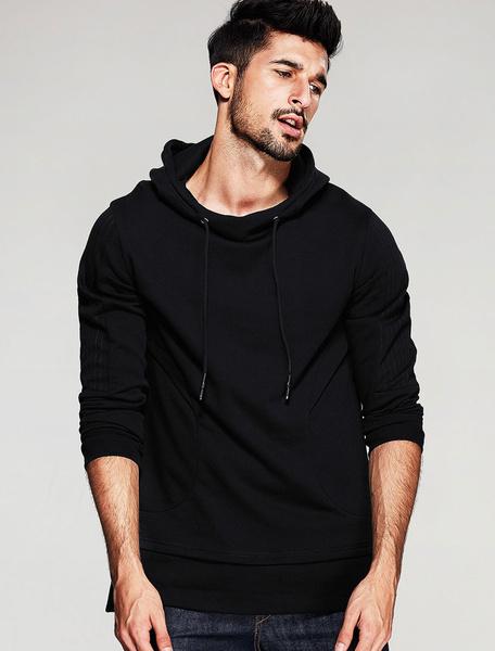 Noir à capuchon manches longues cordon coton Hoodie Sweat-shirt hommes