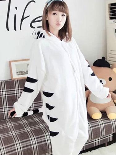 Kigurumi Pajamas Tiger Onesie Flannel White Animal Jumpsuit Adult Costume