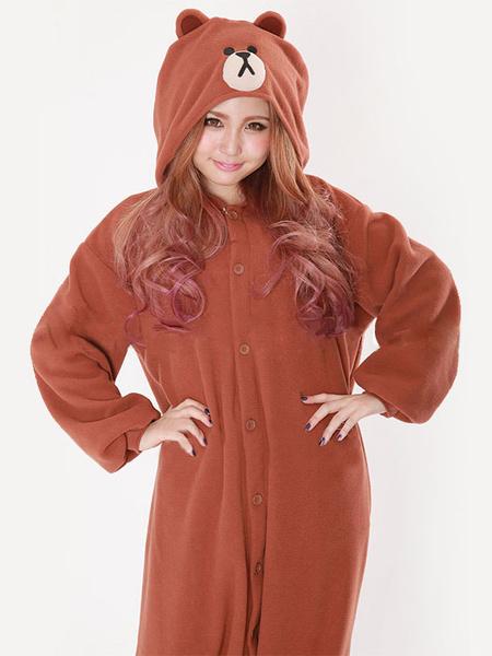 Kigurumi Pajama Bear Brown Onesie Flannel Adults Sleepwear Costume фото
