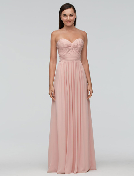 Peach Bridesmaid Dress Strapless Sweetheart A Line Pleated Maxi Wedding Party Dress