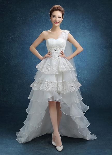 Hochzeitskleid One Shoulder hoch niedrig Perlen Brautkleid Organza-Rüsche Spitze Tier Sweep Zug Brau