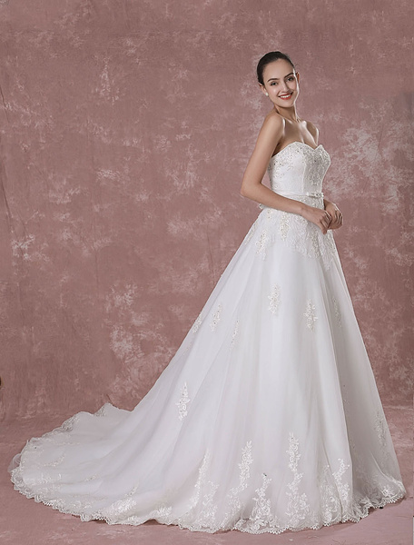 Cathedral Train Wedding Dress Lace Strapless Sweetheart Bridal Gown Backless A-line Luxury Bridal Dr фото