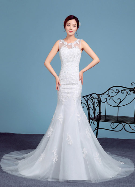 Mermaid Wedding Dress Lace Applique Illusion Sleeveless Bridal Gown Chapel Train Bridal Dress