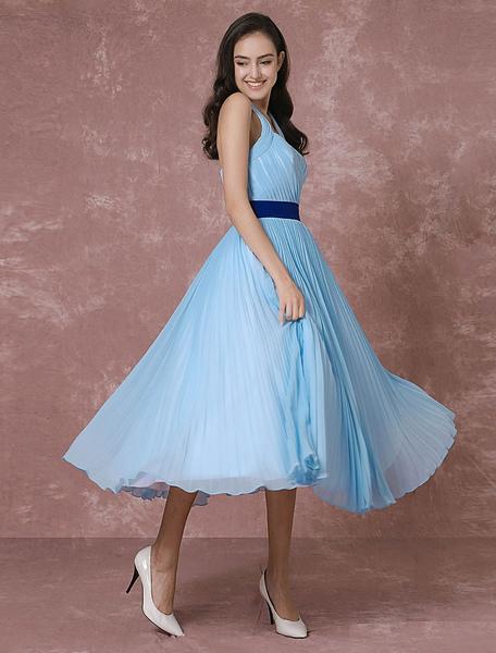 Vintage Wedding Dress Blue Short Bridal Gown Halter Chiffon Pleated Cocktail Dress Tea-length Party фото
