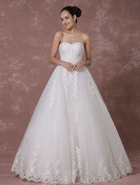 Lace Wedding Dress Sweetheart Strapless Backless Bridal Gown A-line Beading Luxury Bridal Dress фото