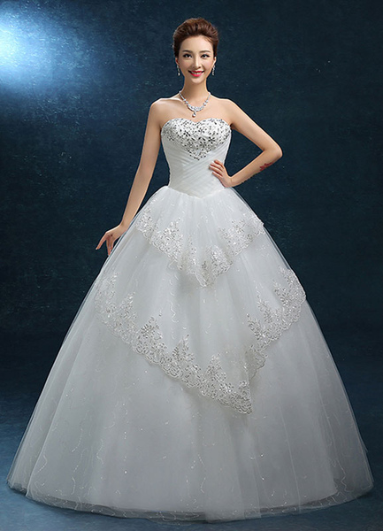 Ball Gown Wedding Dress Lace Strapless Sweatheart Bridal Gown Beading Floor-length Backless Bridal D фото