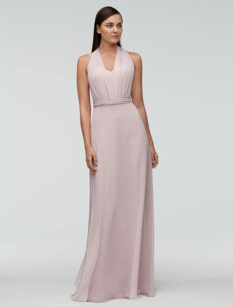 Chiffon Bridesmaid Dress Pink Floor-length Wedding Party Dress Halter Backless A-line Occasion Dress