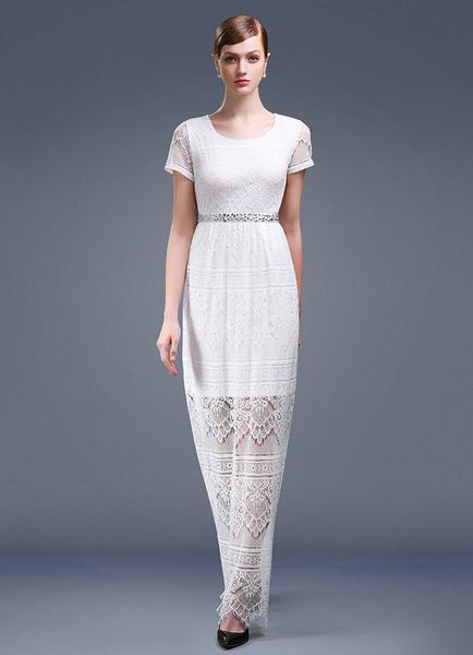 Beach Wedding Dress Lace Evening Dress Ankel-length A-line Short Sleeves Party Dress