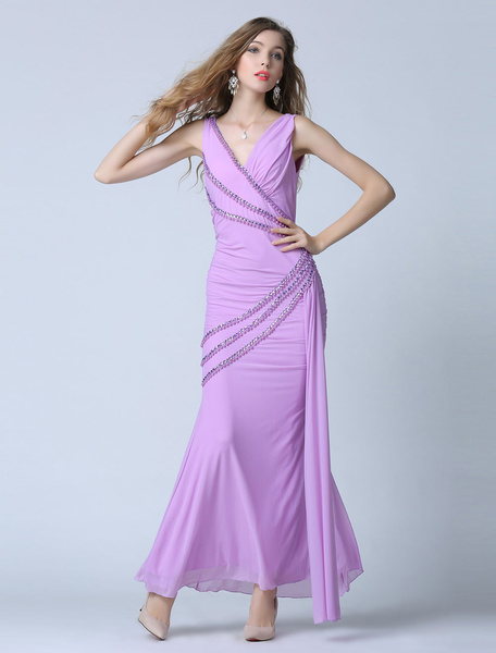 Mermaid Tulle Evening Dress Backless Sexy Party Dress Ankle-length Beading Lilac Occasion Dress