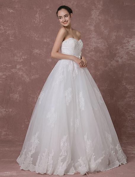Robe de mariée dos nu perles luxe a-ligne robe de mariée en dentelle Sweetheart robe de mariée