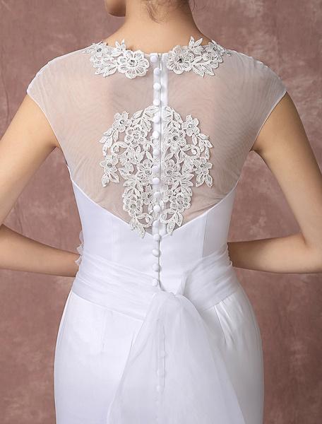 Milanoo / Vestido corte sirena capilla tren vestido de novia ilusión espalda encaje apliques rebordear tul nov