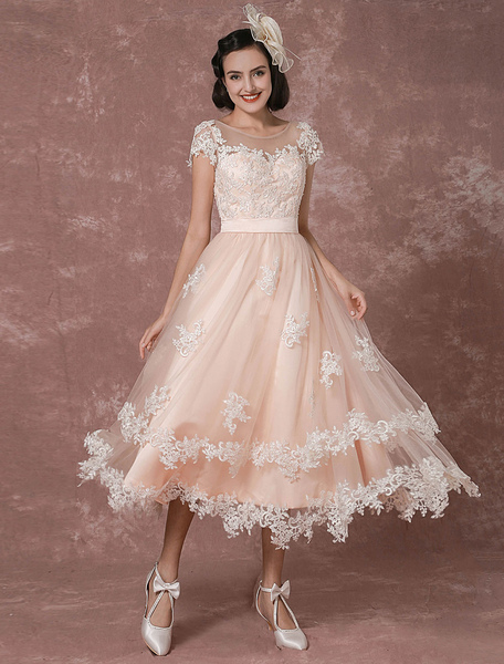 Wedding Dress Short Vintage Bridal Dress Backless Illusion Lace Applique Tea-length A-line Reception фото