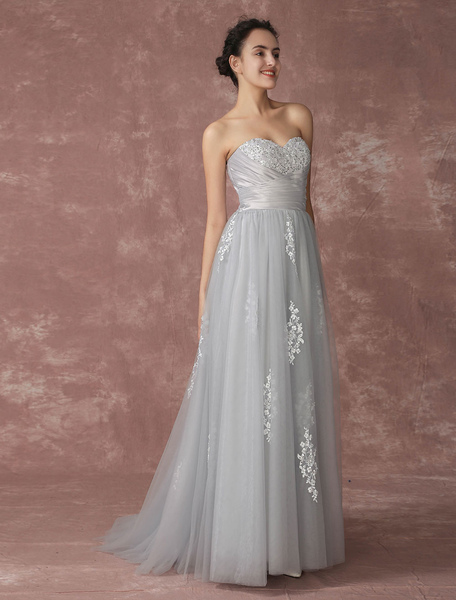 Silver Wedding Dress Beach Wedding Dress Strapless Tulle Bridal Gown Grey Backless Embroideries Bead фото