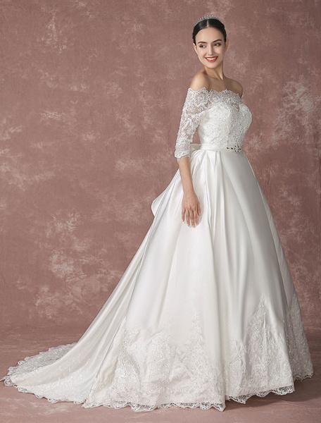 Robe de mariée en dentelle applique hors-l'épaule a-ligne de traîne chaple demi manches satin avec B