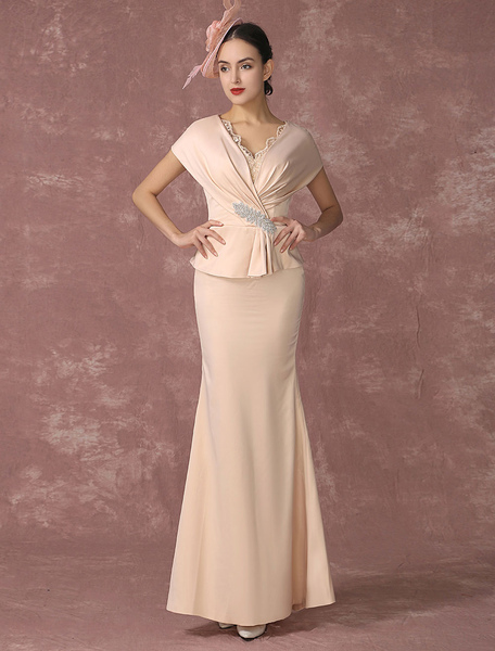 Mermaid Evening Dress Champagne Peplum Party Dress V-neck Mother Of The Bride Dress In Ankle Length Milanoo