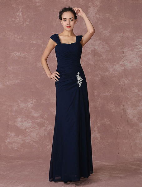 Chiffon Evening Dress Applique Mother Of The Bride Dress Ruched A Line Party Dress In Floor Length
