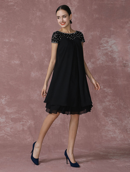 Black Mother Of The Bride Dress Chiffon Cocktail Dress Beading A Line Knee Length Wedding Party Dres фото