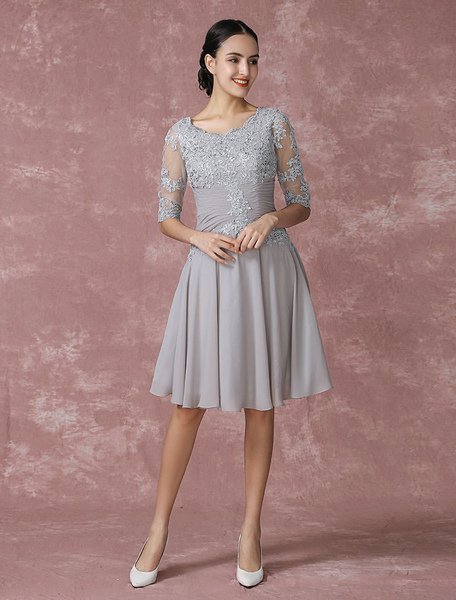 765725d627 Chiffon Cocktail Dress Applique Pleated Mother Of The Bride Dress A Line Illusion  Half Sleeve Party